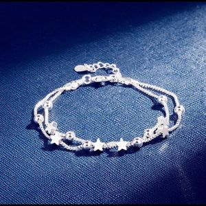 925 Stamped Silver Star Dual Strand Bracelet